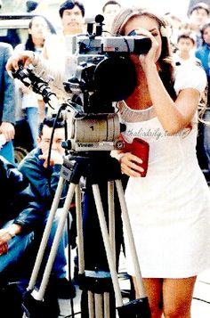 Thalia is behind the camera at Rosalinda's first set day, 1999