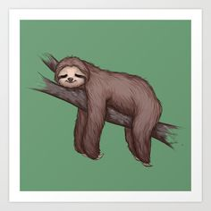Sleepy Sloth Art Print by RibkaDory - $14.56