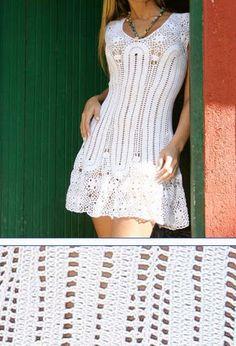 Crochet dress with diagram ♪ ♪ . Crochet Summer Dresses, Crochet Skirts, Crochet Clothes, Moda Crochet, Knit Crochet, Crochet Chart, Clothing Patterns, Dress Patterns, Crochet Designs