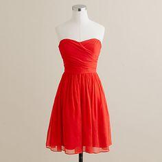 bridesmaid dress option: J.Crew- vivid poppy (too bright?), silk chiffon, strapless