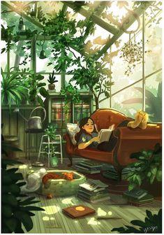 72 Places And People Illustration Ideas - Art Arte Indie, Posca Art, Reading Art, Girl Reading, Anime Scenery, Anime Art Girl, Manga Art, Aesthetic Art, Cartoon Art