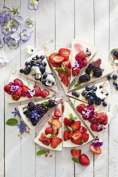 """No Bake Cheesecake with Berry Toppings: A classic cheesecake is amped up by using a variety of toppings—€""""in this case, strawberry, blueberry, blackberry, and raspberry. Not only does it make for an elegant display, but Mom will be sure to get the flavor of her choice."""