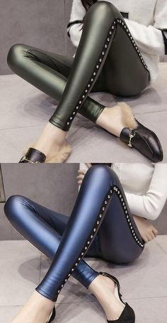 Disco Pants Outfit, Summer Pants Outfits, Leather Pants Outfit, Black Leather Pants, Leather Leggings, Outfit Summer, Shiny Leggings, Women's Leggings, Nylons