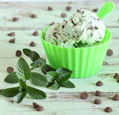 Low FODMAP fresh mint and chocolate chip ice cream Mint Chocolate Chip Ice Cream Recipe, Mint Ice Cream, Mint Chocolate Chips, Ice Cream Recipes, Healthy Chocolate, Fodmap Recipes, Fodmap Foods, Fodmap Diet, Thermomix Desserts