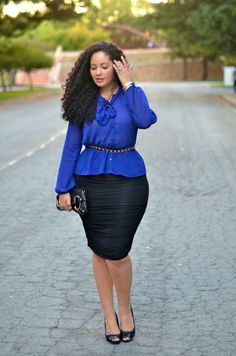 Beautiful Royal Blue Peplum Blouse and Black Ruched Pencil Skirt