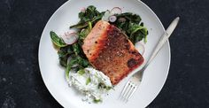 Pan-Roasted Salmon with Collards and Radish Raita Recipe