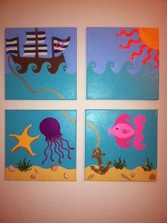 ship sun octopus and fish