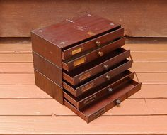 3 Stacking Parts Boxes Swartchild & Co. by PineSpringsCottage