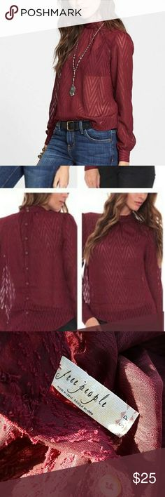 Free People Merlot After Midnight chevron blouse Size small, lightweight and flowy. Free People Tops Blouses