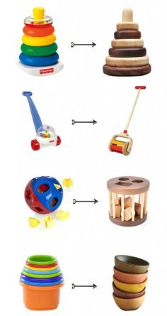 Non-plastic alternatives to plastic toys - ♡ForThePlanet♡ - Baby Diy Wood Projects, Woodworking Projects, Woodworking Toys, Woodworking Patterns, Plastic Alternatives, Wood Toys, Wooden Baby Toys, Classic Toys, Toddler Toys