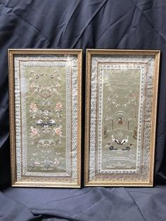 PAIR OF VINTAGE ORIENTAL SILK ART PANELS WITH EMBROIDERED DESIGNS. ALL IN READY TO HANG CONDITION. 27H X 14W