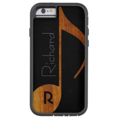 wood-color music note with custom name tough xtreme iPhone 6 case