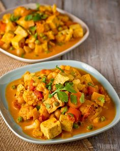 Cauliflower & Tofu Curry 1 medium onion, diced 2 medium carrots, sliced 1 small cauliflower, about 3 cups florets 1 pound super-firm tofu, cubed 1 Tbsp curry powder 1 can fire-roasted crus Tofu Recipes, Curry Recipes, Indian Food Recipes, Asian Recipes, Whole Food Recipes, Vegetarian Recipes, Cooking Recipes, Healthy Recipes, Vegan Vegetarian