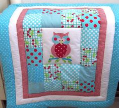 Baby Owl quilt Baby blanket Baby bedding Baby Aqua by dvorales, $89.00