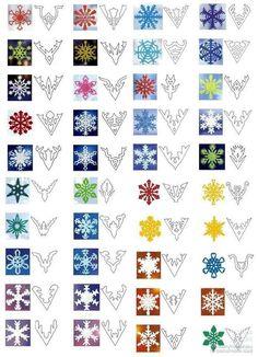 снежинки из бумаги схемы, схемы снежинок из бумаги