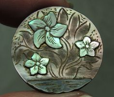 CARVED MOP PEARL SHELL BUTTON  ~  FLORAL DESIGN $61.99