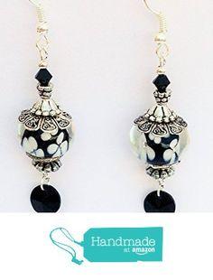 Lampwork Beads, White Flowers, Swarovski Crystals, Drop Earrings, Amazon, Handmade, Black, Jewelry, Amazons