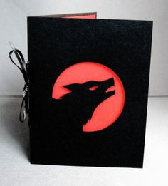 Cut Paper Wolf Silhouette Art Greeting Card Red & Black