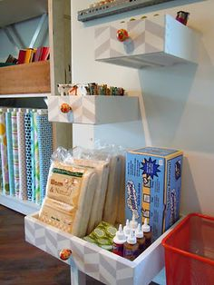 I love this use of old drawers. Makes me sad for all those things I threw away that could have been upcycled.