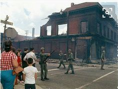 July,1967 the National Guardsmen patrolling the ruins after the 12th Street riots in Detroit. The riots were socially, economically and racially motivated.