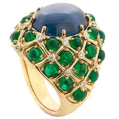 Henry Dunay Ring - Blue Star Sapphire, Emerald cabochons & Diamonds set in 18k yellow gold