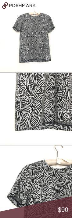 Club Monaco knit top Excellent condition super soft fitted knit zebra print top Club Monaco Tops
