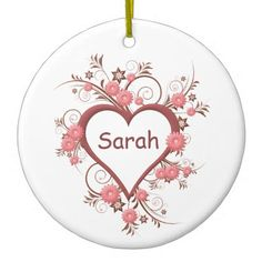 The One My Heart Loves Heart and Flowers Ceramic Ornament - flowers floral flower design unique style
