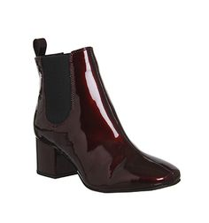 Office Love Bug Block Heel Chelsea Boots Burgundy Patent Leather - Ankle Boots