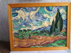 Картина панно рисунок Квиллинг Пшеничное поле с кипарисами Бумажные полосы фото 1