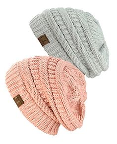 ca0f83043e9 Exclusive Unisex Two Tone Warm Cable Knit Thick Slouch Beanie Cap