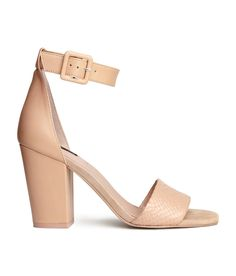 Not only are nude heels extremely versatile, but they also elongate your legs! Sandles in premium-quality leather & suede with block heel and ankle strap. | H&M Shoes