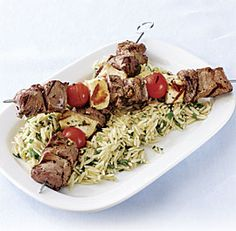 Grilled Lamb, Tomato, and Halloumi Skewers with Orzo Salad from Fine Cooking magazine