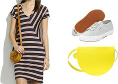Styling the Madewell striped tee dress, via Shopping's My Cardio
