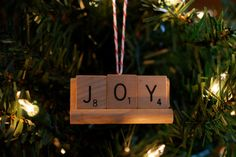 Happy Holiday Christmas Tree Ornament: Upcycled Scrabble Pieces (Joy)