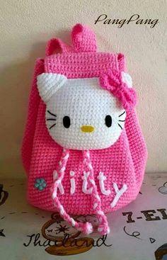 Ideas crochet purse kids hello kitty for 2019 Crochet Fabric, Crochet Gifts, Cute Crochet, Crochet For Kids, Crochet Patterns, Crochet Ideas, Crochet Handbags, Crochet Purses, Hello Kitty Crochet
