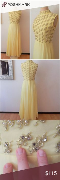 """Vtg 60s Mod Buttercream Rhinestone Formal Dress Vintage 60s Mod Midcentury Modern Yellow Buttercream Chiffon Rhinestone Formal Dress  ILGWU Made USA Zip and Eye Hook Rear Rhinestone and Pearl Top Half Layered Sheer Overlays with Solid Lining Bare Shoulders High Collar Please See Small Tear and Some Spotting Near Bottom Hem Estimated Size Range Small (Please review actual measurements prior to purchase)  Bust circumference: 35"""" Waist circumference: 27"""" Hip circumference: 42"""" Length: 56""""…"""