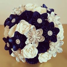 Midnight Navy Blue Sheet Music wedding Theme Paper Origami Flower Bouquet jute hessian stationary UK alternative to silk foam button ribbon