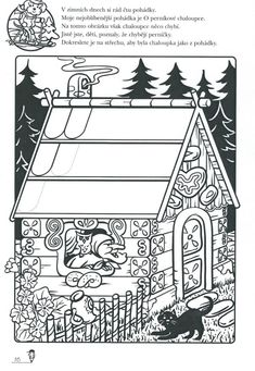 Perníková chaloupka - dokreslení perníčků Class Activities, Nursery Rhymes, Coloring Pages, Fairy Tales, Kindergarten, Preschool, Playing Cards, Education, Halloween