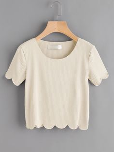 Shop Scallop Trim Ribbed Crop Tee online. SheIn offers Scallop Trim Ribbed Crop Tee & more to fit your fashionable needs.