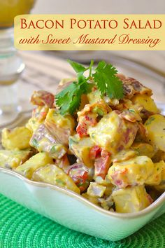 Bacon Potato Salad with Sweet Mustard Dressing - this satisfying side dish with a sweet and tangy mustard dressing borrows the best elements from a few of my all time favorite potato salad recipes. It's the perfect BBQ side dish or pot luck addition.