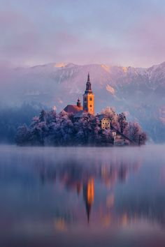 """unboxingearth:  """"Castle on an island in Slovenia 