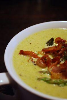 Creamy asparagus soup w/ bacon & asparagus tip garnish    always order dessert