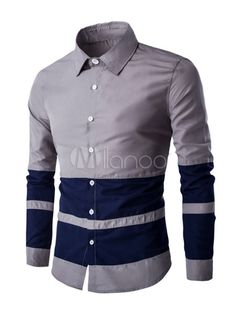 9121bd3905e2d Gris Camisas manga larga cuello de cobertura algodón camisa Casual de los  hombres