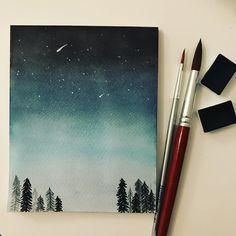Watercolor painting! Night sky (my new favourite -indigo )