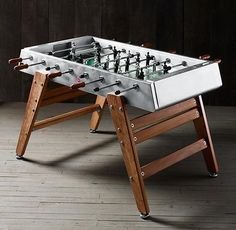 Beautifully crafted steel & wood foosball table perfect for any game room. Restoration Hardware, Shocking Games, Table Football, Wood Source, Wood Steel, Baby Feet, Table Games, Game Room, Wooden Toys