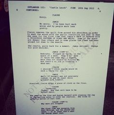 Outlander script. There'll be 16  one hour long episodes in season 1, covering book 1.