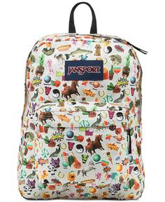 """Jansport excites the imagination with this newly redesigned signature backpack in a vibrant, sticker-themed print. 