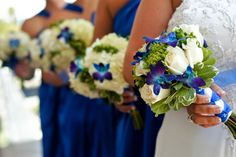 blue and green wedding bouquets | blue and green wedding | beach wedding ideas | Photographer: ashfall mixed media, inc. | Event Planner: Special Moments