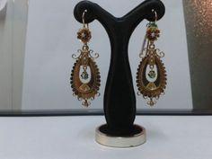 Año 1900/20. Pendientes de colgar Oro 18 Ktes. Esmeraldas Perlas. Peso 10,80 gr. in Relojes y joyas, Vintage y joyería antigua   eBay