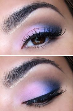 Pink & blue smoky eye.